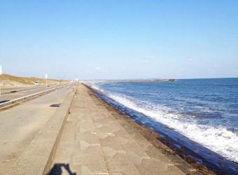 旭市付近の九十九里浜。このあたりは護岸工事で昔の面影は無い。