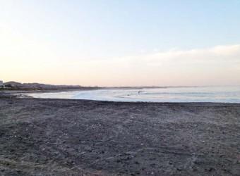 太東海水浴場。ここも砂が黒っぽい。やはり鉄分のせい。決して汚い訳ではない。