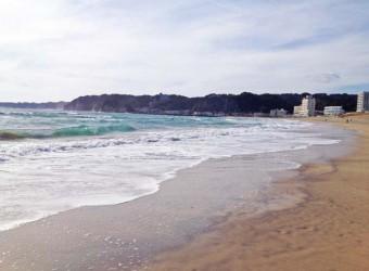 御宿海水浴場。ここも砂がきれい。