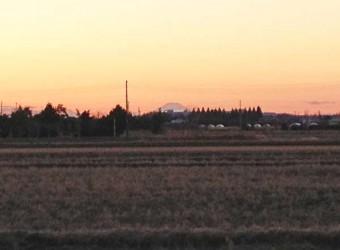 長生村は、ほぼ全域で富士山が見える。これは大関堰の隣から。